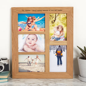 Personalised Solid Oak Multi Photo Frame Five Aperture - new in prints & art
