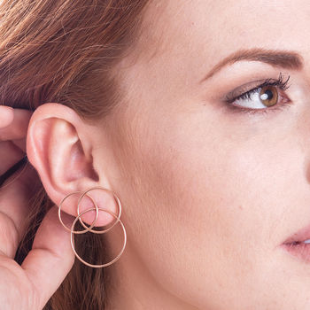 Rose Gold Geometric Circle Statement Stud Earrings