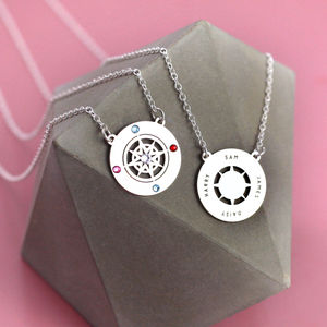 Family Name Necklace Double Sided Silver Compass