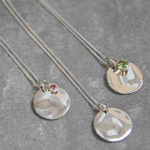Silver Sequin And Birthstone Necklace - birthstone jewellery gifts