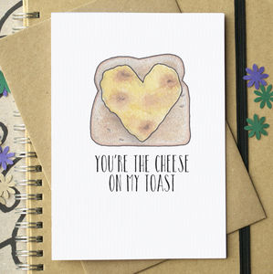 You're The Cheese On My Toast Funny Valentine's Card - cards & wrap