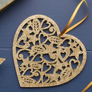 Gold Glitter Wooden Heart Christmas Decoration