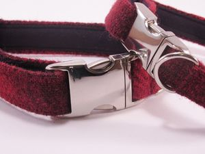 Check Harris Tweed Dog Collar