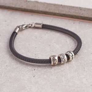 Solid Silver Mojo Bead Charm Leather Bracelet