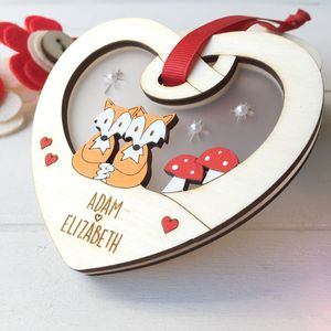Personalised Couples Wedding Woodland Love Token - hanging decorations