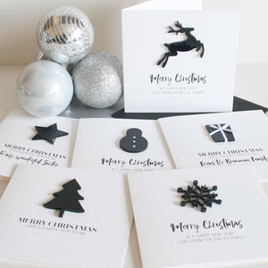 Pack Of Personalised Monochrome Merry Christmas Cards - cards & wrap