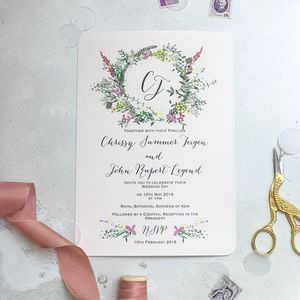 Garland Wedding Invite - wedding stationery