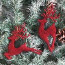 Red Glitter Reindeer Christmas Tree Decoration
