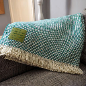 Personalised Checked Throw With Leather Patch - gifts for grandparents