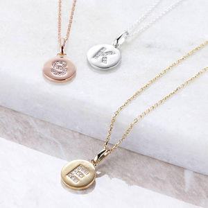 Genuine Diamond Initial Disc Necklace - what's new