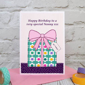 'Present' Personalised Girls Birthday Card