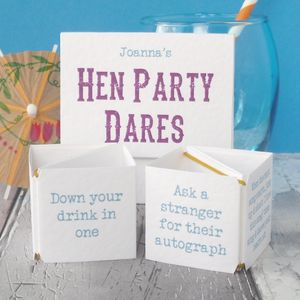 Personalised Pop Up Hen Night Dares - wedding, engagement & anniversary cards