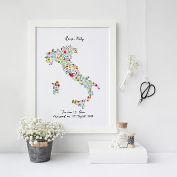 Personalised Floral Map Of Italy Print