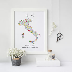 Personalised Floral Map Of Italy Print - paintings