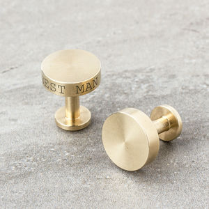 Personalised Solid Brass Cufflinks - gifts for the groom
