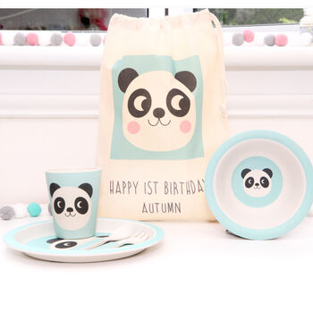 Panda Design Dinner Set And Personalised Bag