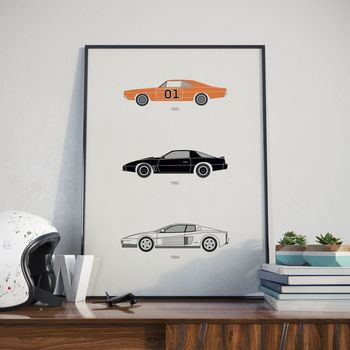 Iconic 80s Tv Car Collection Print