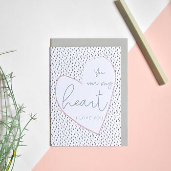 You Won My Heart Greeting Card Recycled Blank Inside