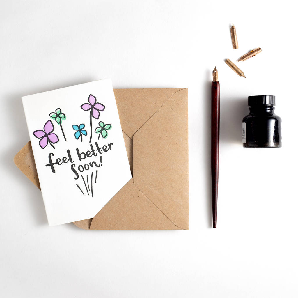 feel better soon letterpress get well card by hunter paper co