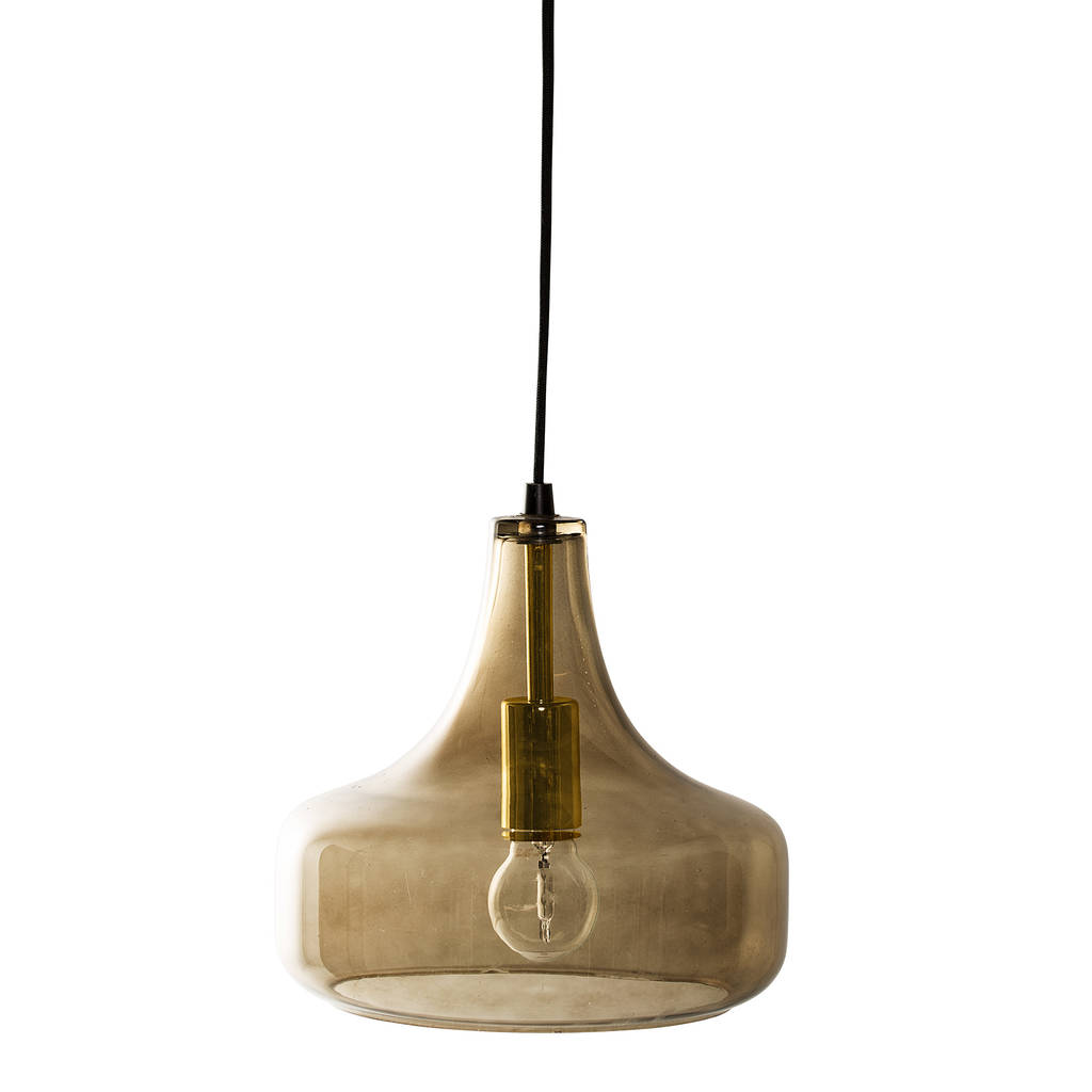 bloomingville hanging lamp in brown glass by out there interiors notonthehighstreet.com