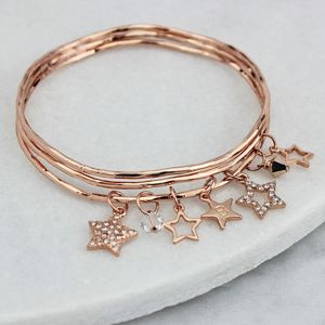 Personalised Diamante Star Charm Bangles - gifts for her