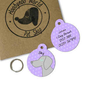 Weimaraner Personalised Dog Name ID Tag - what's new