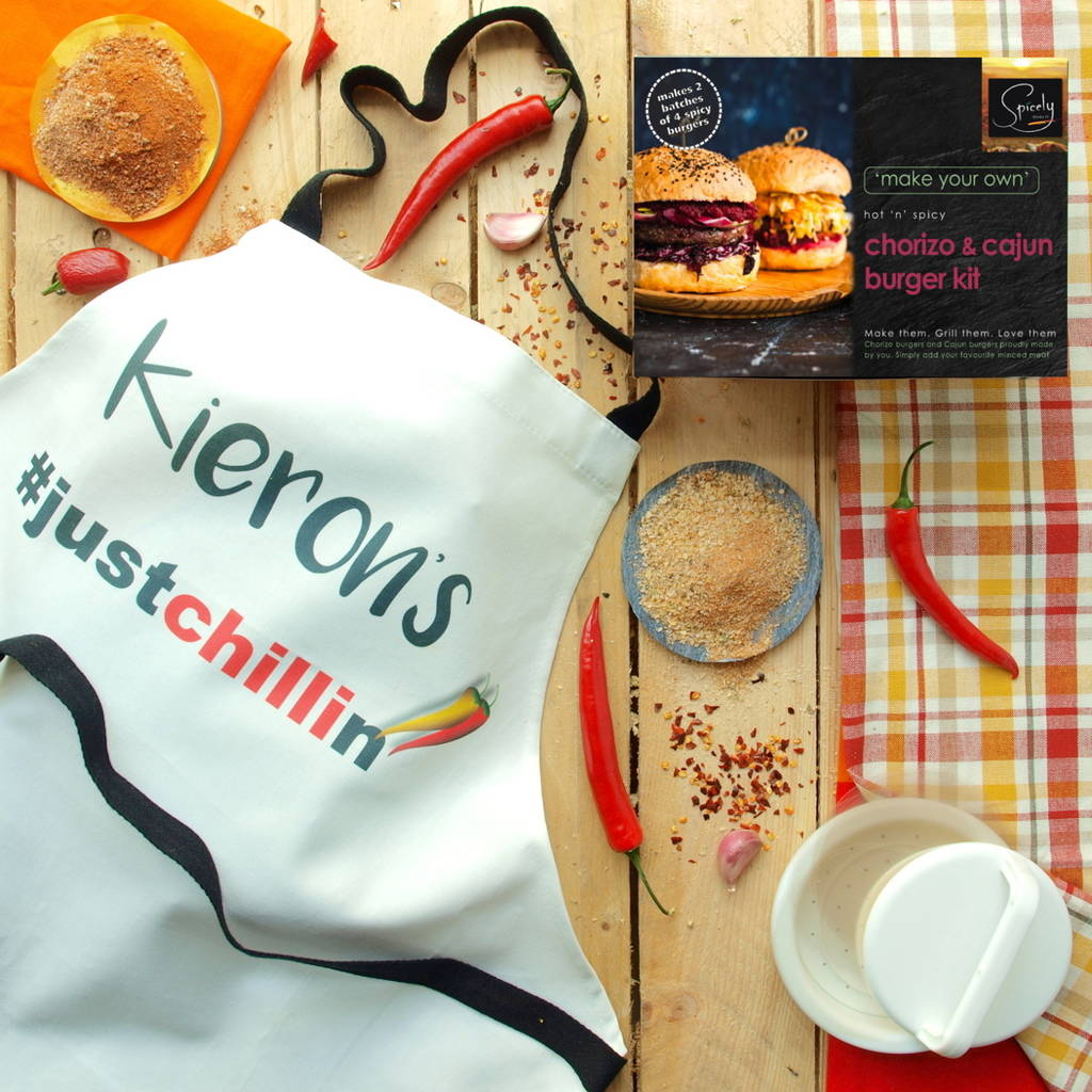 Father's Day Spicy Burger Kit With Personalised Apron