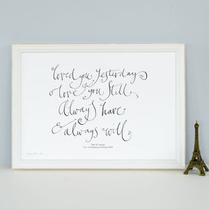Personalised Romantic 'Loved You Yesterday' Print Gift