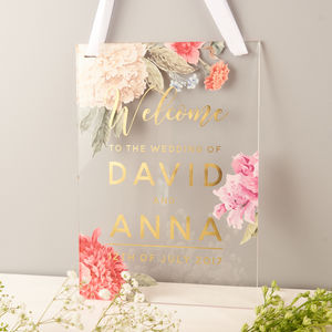 Personalised Floral And Gold Welcome Wedding Sign - outdoor wedding signs