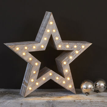 Natural Wooden LED Star