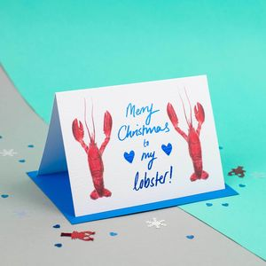 'Merry Christmas To My Lobster' Illustrated Couple Card - cards