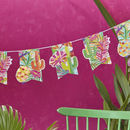 Tropical Iridescent Foiled Cactus And Pineapple Bunting
