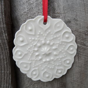 Porcelain Christmas Patterned Decoration - home accessories