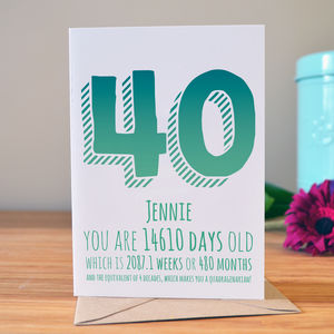 40th Birthday Milestone Card - 40th birthday cards