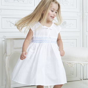 Girl's Personalised Smocked Pocket Dress - christening wear