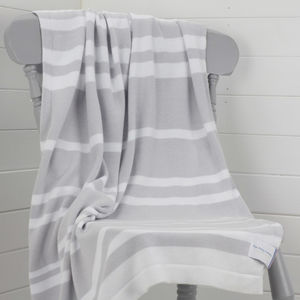 Personalised Unisex Striped Baby Blanket - sleeping
