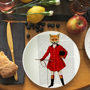 Fox Hunter Bone China Plate