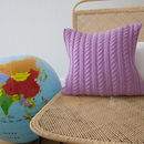 Strikk Hand Knit Twisted Cable Cushion In Amethyst