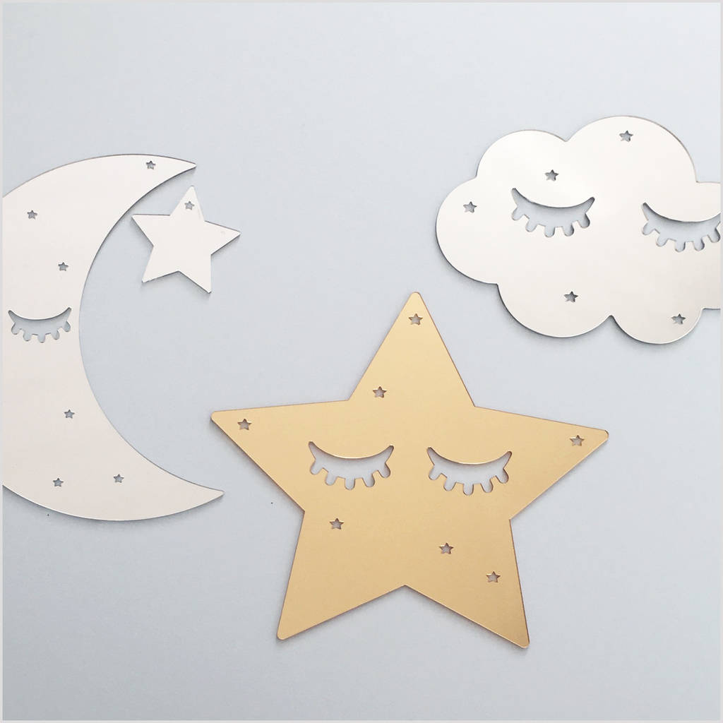 sleepy star gold mirror acrylic wall decoration by lala loves decor ...
