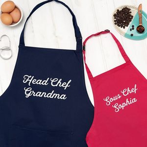 Personalised Grandma Head Chef And Sous Chef Apron Set