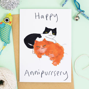 Happy Anniversary Card Cat Card