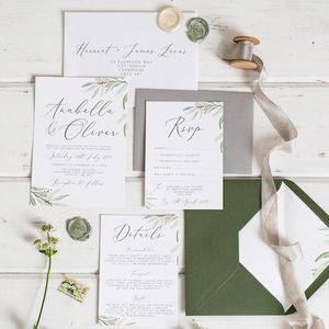 Botanical Wedding Invitation And RSVP