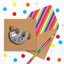 Funny Handmade Happy Birthday Sloth Card