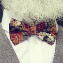 Green And Orange Floral Bow Tie