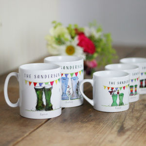 Personalised Set Of Welly Boot Family Mugs - kitchen
