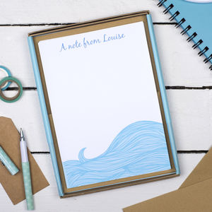 Personalised Sea Waves Writing Set - stationery
