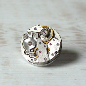 Watch Movement Tie Pin/Lapel Badge - men's accessories