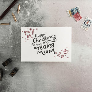 To My Mum Letterpress Christmas Card - christmas cards