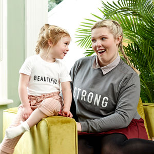 'Strong' Mother's Day Jumper And 'Beautiful' Child Set - women's fashion