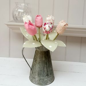 Cotton Anniversary Tulips In Metal Jug And Engraved Tag
